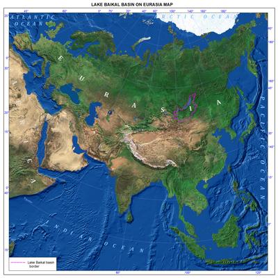 Lake Baikal World Map.002 Lake Baikal Basin On Eurasia Map English