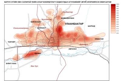 88-2. Улаанбаатар хотын агаар дахь бохирдуулах бодисын агууламж (Баруунаас 5м/с салхитай үед)