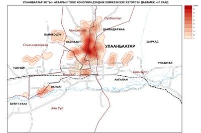 88-5. Улаанбаатар хотын агаарын тоосжилт хоногийн дундаж агууламжаас давсан байдал (4-р сард)